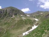Via Normale Monte Crapel - Verso la Baita Salina di Mezzo è già evidente la sella a cui puntare