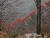 Via Normale Soglio dei Corvi - Via Linea di Confine - Lo spigolo visto dalla falesia 4 Gati