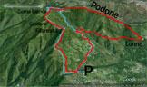 Via Normale Corni di Val Formica - In rosso l´alternativa B, in azzurro la A