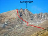 Via Normale La Corvegia - da Est - Immagine ripresa da E