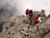 Via Normale Cima Giaf - La cresta della Cima Giàf a inizio discesa