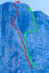 Via Normale Torre di Valgrande - In rosso lo spigolo NE e in verde la via normale