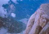 Via Normale Torre di Valgrande - Il Lago di Alleghe dalla vetta