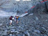 Via Normale Pizzo del Diavolo di Tenda - da Ambria - Il ghiacciaio e l'inizio della cengia che conduce alla B.tta di Podavit