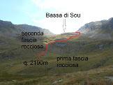 Via Normale Pizzo del Sole - Traccia suggerita per raggiungere la Bassa di Sou