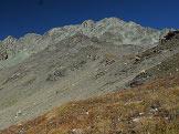 Via Normale Piz Platta - Nuova via normale - Il Taellinhorn con Fuorcla Berca a sinistra