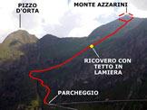 Via Normale Monte Azzarini (o Fioraro) - vers. W - L'itinerario, da S