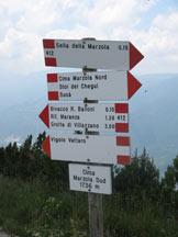 Via Normale Cima Marzola Sud - Cartelli segnaletici sulla cima