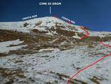 Via Normale Cime di Grom - L'itinerario della cresta SSE, ripreso da Malga Andrina