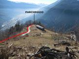 Via Normale Monte Storile - Via normale SSW - Lo spiazzo sulla curva dove si può parcheggiare