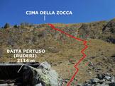 Via Normale Cima della Zocca - L'itinerario, dai ruderi della Baita Pertuso