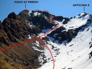 Via Normale Pizzo di Presio - ver. W e cresta S