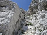 Via Normale Monte Cergnala (Hudi Vrsic) - Il canale-camino di primo grado esposto