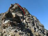 Via Normale Cima del Duca - In rosso il tratto più impegnativo, 20 metri di III/III+