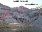 Via Normale Sasso Campana - L'itinerario, dal Lago Venere