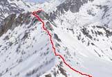Via Normale Monte Mandre Vaimane - Via di salita vista da P.ta Valdi