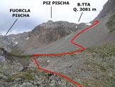 Via Normale Piz Pischa – Cresta NNE - Presso la (q. 2697 m), dove si abbandona il sentiero per la Fuorcla Pischa