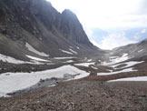 Via Normale Piz Pischa – Cresta NNE - Il vallone con i resti della Vadret Pischa, dalla cresta NNE