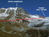 Via Normale Pizzo Sareggio - Immagine ripresa dalla Valle dei Laghi (q. 2309 m)