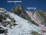 Via Normale Pizzo Sareggio - Immagine ripresa a circa 150 m di dislivello dalla vetta