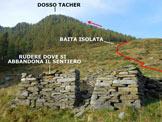 Via Normale Dosso Tacher - Il rudere dove si abbandona il sentiero segnalato