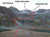 Via Normale Pizzo Malgina - dalla Valle dei Laghi - Immagine ripresa dai 2 Laghi di (q. 2309 m)