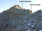 Via Normale Pizzo Malgina - dalla Valle dei Laghi - Immagine ripresa nei pressi della Sella (q. 2802 m)