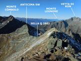 Via Normale Pizzo Malgina - dalla Valle dei Laghi - Dalla vetta, in primo piano la cresta da percorrere