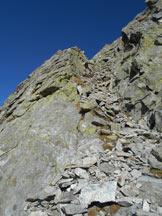Via Normale Pizzo Ledù (cresta NW) - Il canalino di accesso alla cresta NW