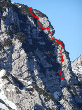 Via Normale Cima Val Finestra (Vajo di Cima Val Finestra) - Il tracciato della via d´arrampicata
