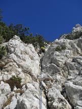 Via Normale Cima Val Finestra (Vajo di Cima Val Finestra) - Sui camini - diedri iniziali