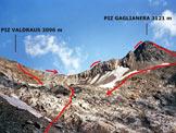 Via Normale Piz Valdraus - Piz Gaglianera (traversata) - In salita, in località Valdraus e l'itinerario della traversata
