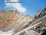 Via Normale Piz Valdraus - Piz Gaglianera (traversata) - Il Piz Valdraus, dal versante S del Piz Gaglianera