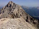 Via Normale Sass de le Càore - La cima con vista sul Monte Agnèr