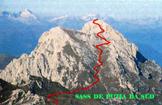 Via Normale Sass de Putia - Percorso per la vetta sul versante Sud