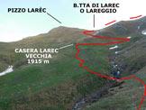 Via Normale Pizzo della Cassera (o Cima Cassera) - Immagine ripresa alla Casera Larec Nuova (q. 1840 m)