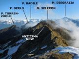 Via Normale Cima della Sciura - Panorama di vetta, verso NNW