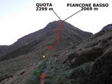 Via Normale Piancone Basso - In giallo il punto dove si abbandona la vecchia strada militare e si sale lungo la cresta S