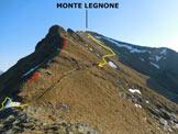 Via Normale Monte Legnone - Cresta Sud - Lungo la cresta S, in giallo la variante di discesa