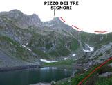 Via Normale Pizzo dei Tre Signori - dal Rif. Madonna della Neve - Immagine ripresa al Lago di Sasso