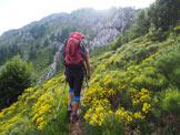 Via Normale Monte Croce - Subito dopo la Bocchetta di Prada è ben visibile il salto roccioso di I