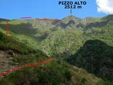 Via Normale Pizzo Alto - Da Premaniga - Immagine ripresa al termine della strada che conduce a Premaniga