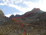Via Normale Cima Orientale di Lago Spalmo - Cresta SW - All'inizio della morena della sinistra orografica