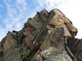 Via Normale Cima Orientale di Lago Spalmo - Cresta SW - Il tratto più impegnativo della cresta SW (II+/III-)