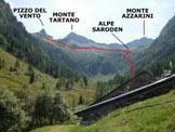 Via Normale Monte Tartano - Cresta SE - Immagine ripresa dall'itinerario di discesa, dalla Casera Val Budria