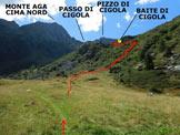 Via Normale Monte Aga - da Ambria - Il bivio dove si stacca sulla destra il sentiero per le Baite di Cigola