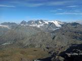 Via Normale Pizzo Scalino - dalla Val Painale - Panorama di vetta sull'intero Gruppo del Bernina, in basso il Piano di Campagneda