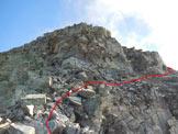Via Normale Cima Val Fontana - La cresta W, che viene aggirata sul detritico lato S