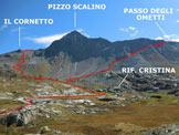 Via Normale Pizzo Scalino (traversata) - Il Pizzo Scalino, dai pressi dell'Alpe Prabello