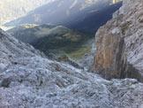 Via Normale Sass dei Lastèi - Via del canalone con il rifugio Scarpa